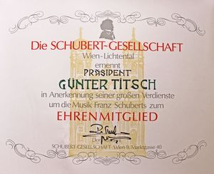Honorary Membership of the Schubert-Gesellschaft