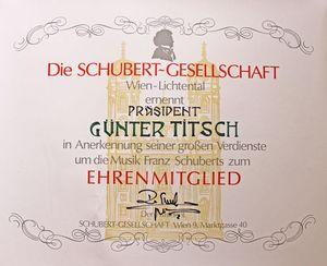 Ehrenmitgliedschaft der Schubert-Gesellschaft