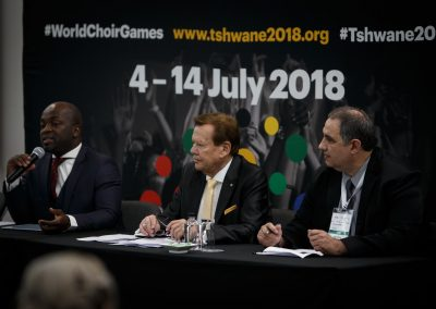 press conference right before the Opening Ceremony of the 10th World Choir Games 2018 at Tshwane, South Africa